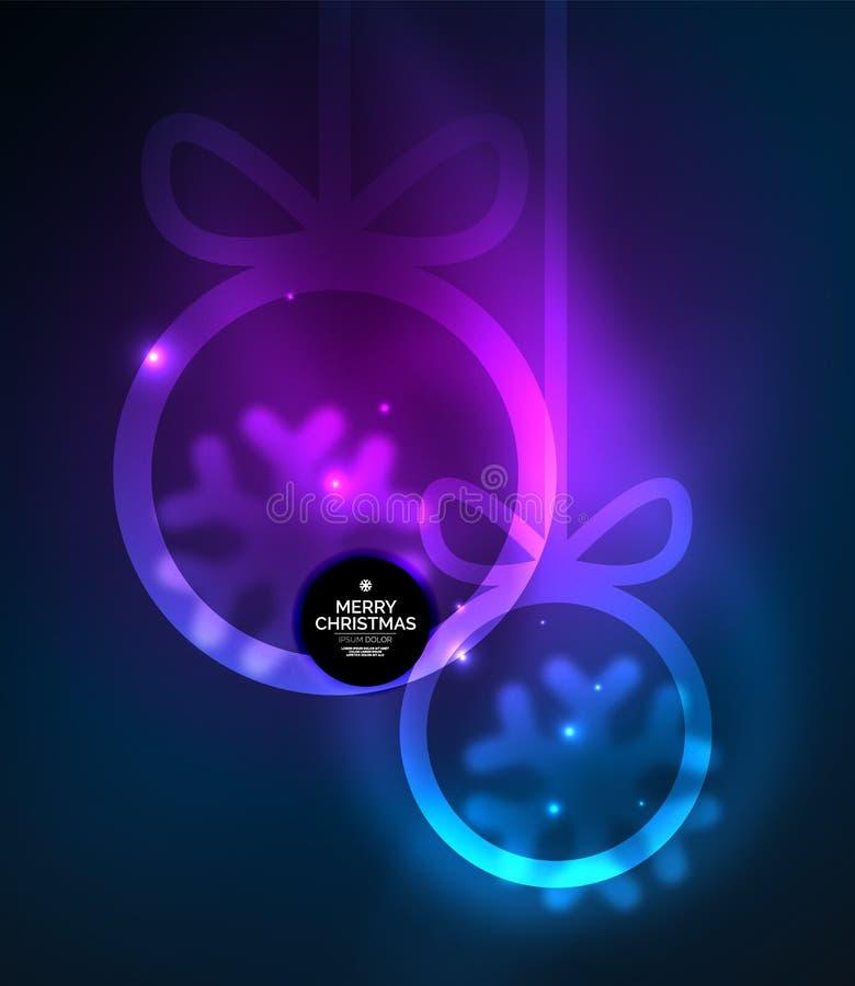 Quinquilharias do Natal, fundo escuro mágico do vetor com as esferas de incandescência do ano novo ilustração stock