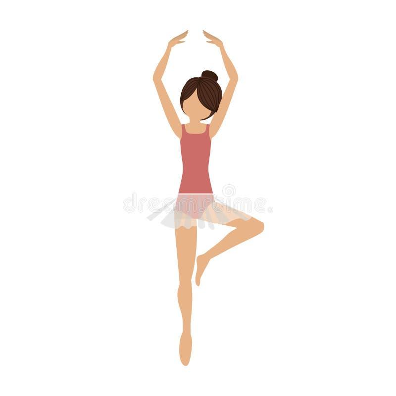 Quinta posición de la pirueta colorida del bailarín stock de ilustración