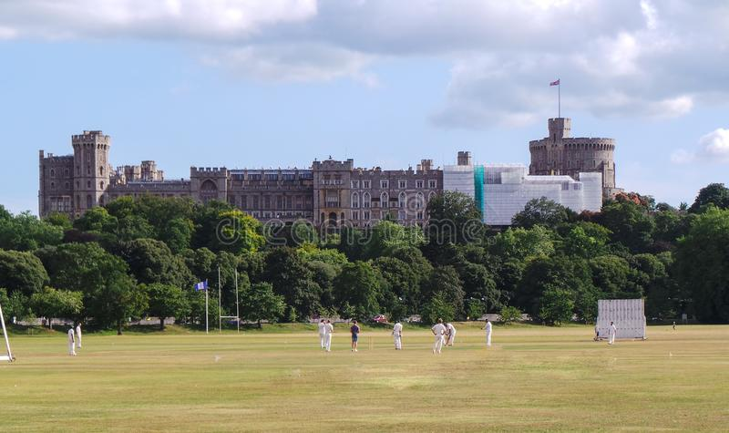 Quintissentially English - cricket in front of Windsor Castle royalty free stock images