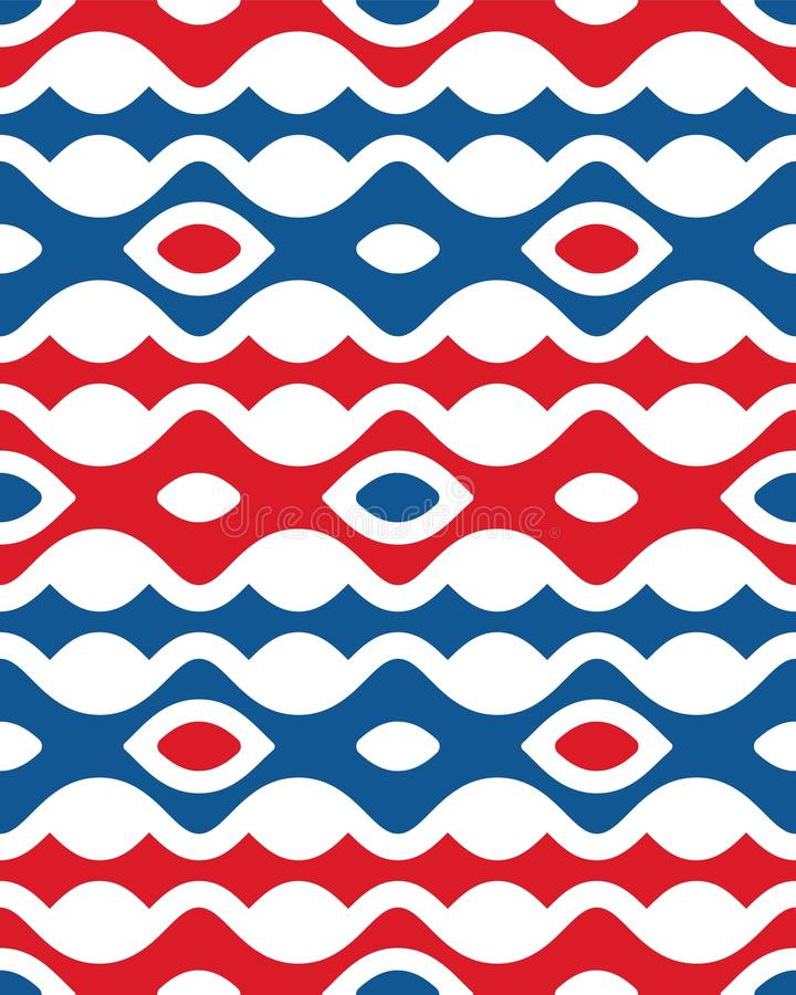 Quinto modelo inconsútil vertical azul rojo abstracto de la forma de onda de Etpa stock de ilustración