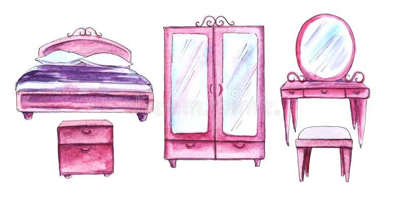 quintuplet Mobilia della camera da letto di rosa del burattino Letto, guardaroba, tavola di condimento, ottomano del comodino illustrazione vettoriale