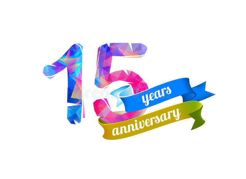 15 quinze anos de aniversário ilustração royalty free