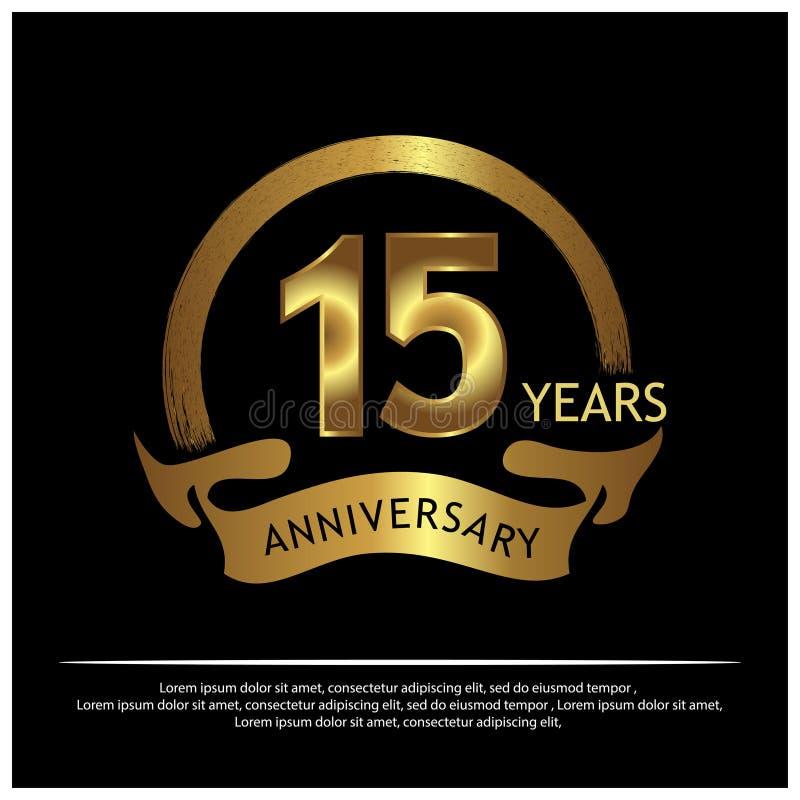 Quinze anos de aniversário dourado projeto do molde do aniversário para a Web, jogo, cartaz criativo, brochura, folheto, inseto,  ilustração stock
