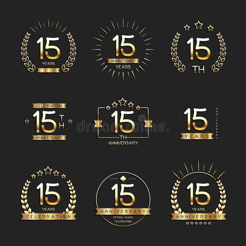 Quinze do aniversário anos de logotype da celebração 15a coleção do logotipo do aniversário ilustração royalty free