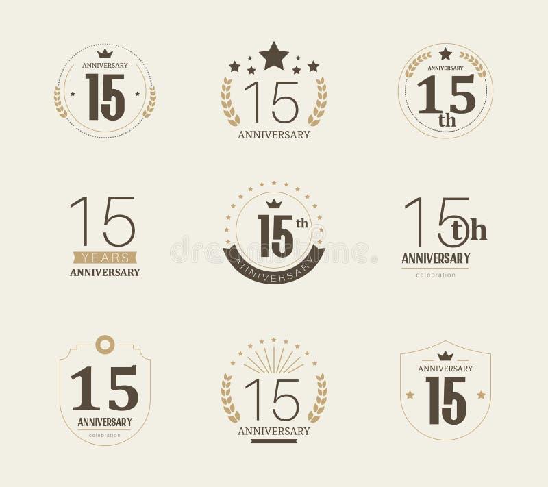 Quinze do aniversário anos de logotype da celebração 15o grupo do logotipo do aniversário ilustração royalty free