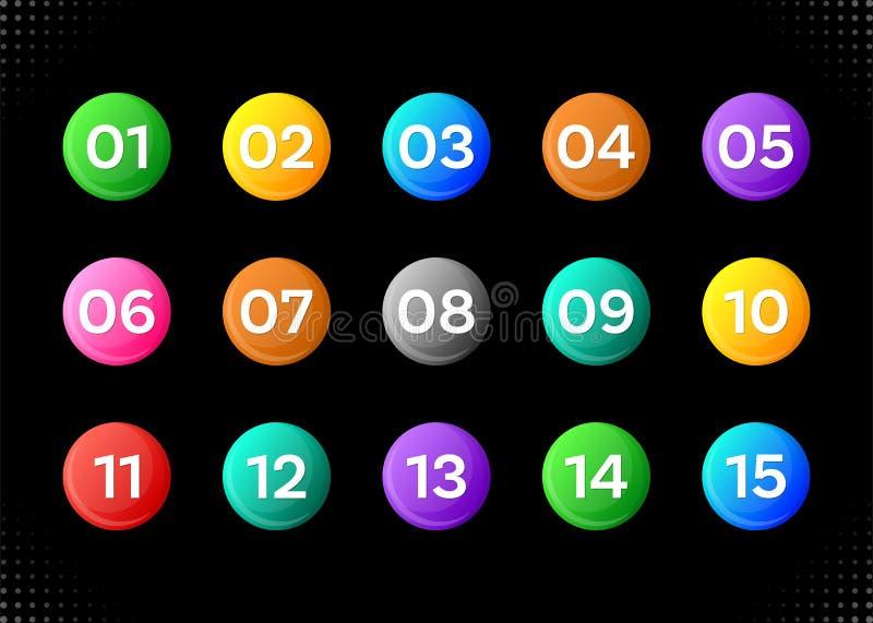 Quinze icônes colorées de nombres illustration stock