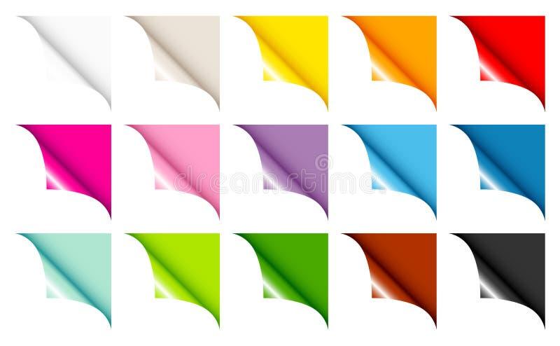 Quinze que a Web encurrala a cor completa dobraram certo acima ilustração stock