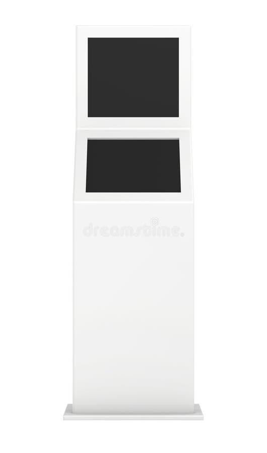 Quiosco de información Terminal de la información quiosco interactivo en el fondo blanco fotografía de archivo