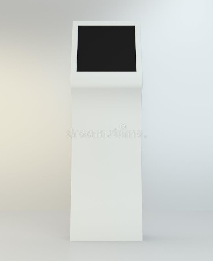 Quiosco de información Terminal interactivo en el fondo blanco representación 3d imágenes de archivo libres de regalías