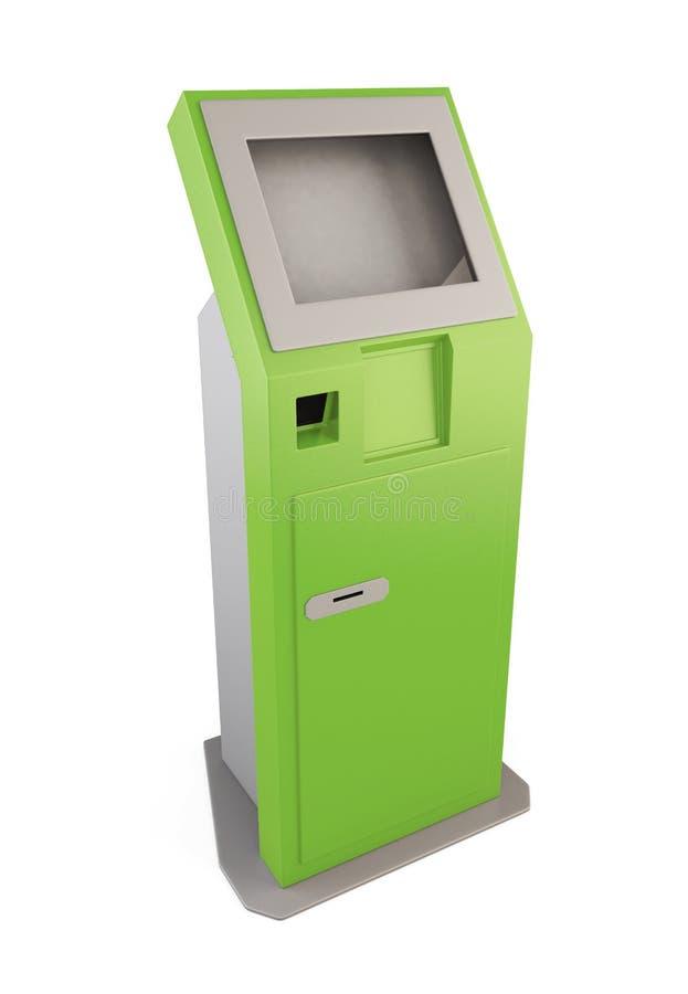 Quiosco de información verde Terminal de la información para recibir el banco stock de ilustración
