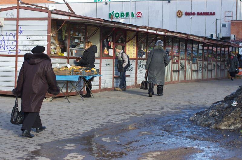 Quioscos del mercado en una calle fotos de archivo libres de regalías