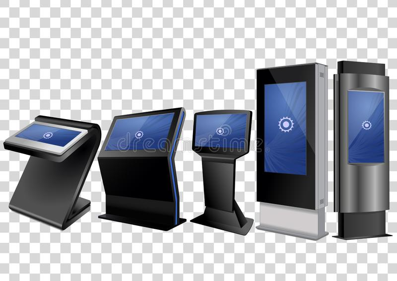 Quiosque de informação cinco interativo relativo à promoção, anunciando a exposição, suporte terminal, visualização ótica de tela ilustração stock