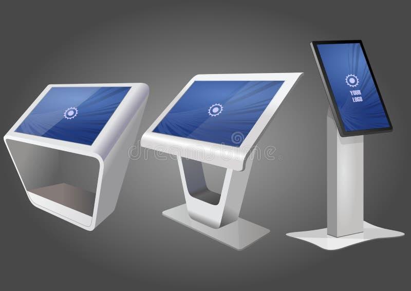 Quiosque de informação três interativo relativo à promoção, anunciando a exposição, suporte terminal, visualização ótica de tela  ilustração do vetor