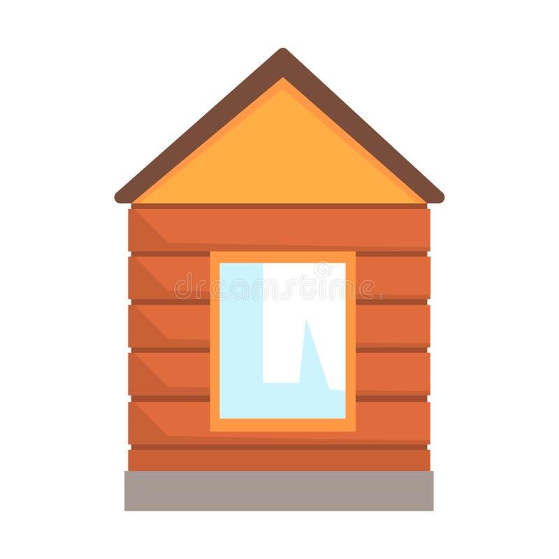 Quiosque de madeira pequeno, usado para o controle em um cruzamento railway Ilustração colorida dos desenhos animados ilustração do vetor
