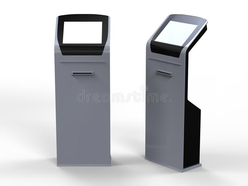 Quiosque do tela táctil da informação com o leitor de cartão da impressora térmica do bilhete e da tira magnética 3d rendem a ilu ilustração do vetor