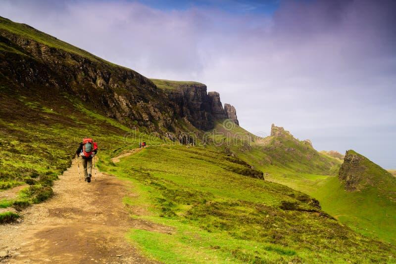 Quiraing山环境美化在斯凯,苏格兰小岛  库存照片