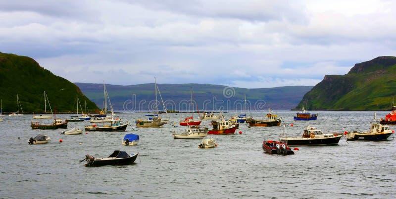 Quiraing山风景看法在斯凯岛小岛,苏格兰高地,英国的 库存图片