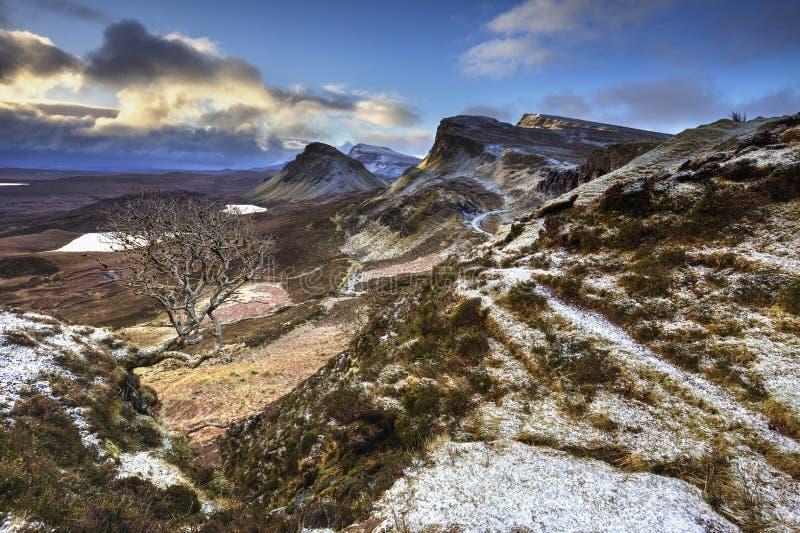 Quiraing, Eiland van Skye, Schotland stock foto's