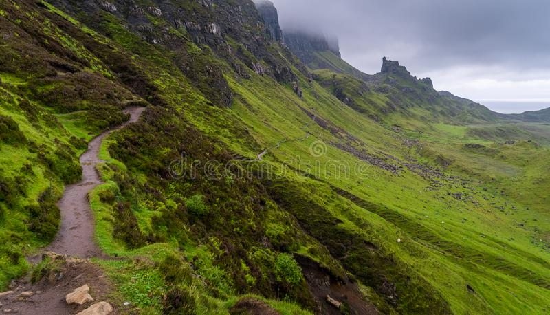 Scenic sight of the Quiraing, Isle of Skye, Scotland. The Quiraing is a landslip on the eastern face of Meall na Suiramach, the northernmost summit of the stock photography