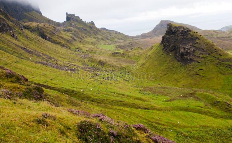 Quiraing mountain range Isle of Skye Scotland, UK. stock images