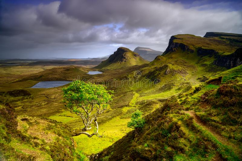 Quiraing mountains landscape at  Isle of Skye, Scotland stock photography