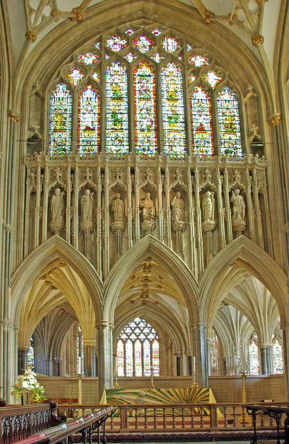Quire Wells Cathedral stock image