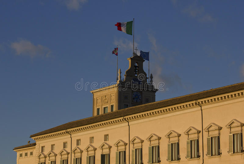 Quirinal Palace in Rome. ROME, ITALY - DECEMBER 30 2014: Architectural close up of Quirinal Palace in Rome, with its turret stock photography
