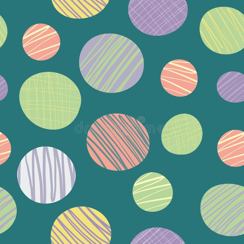Quirky abstract doodle textured circles in green, pink, purple and yellow. Seamless vector pattern on teal background royalty free illustration