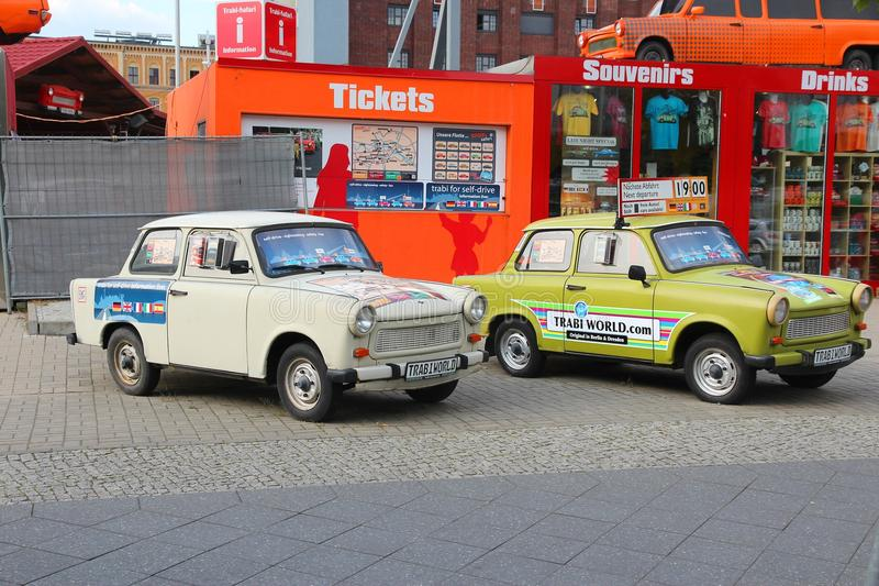 Quirky Berlin. BERLIN, GERMANY - AUGUST 25, 2014: Colorful Trabant 601 cars parked in Berlin. 3,096,099 Trabant cars were produced despite their infamous royalty free stock photos
