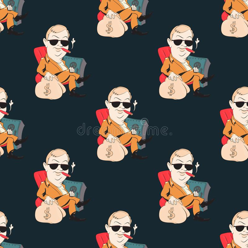 Quirky businessman seamless pattern vector illustration