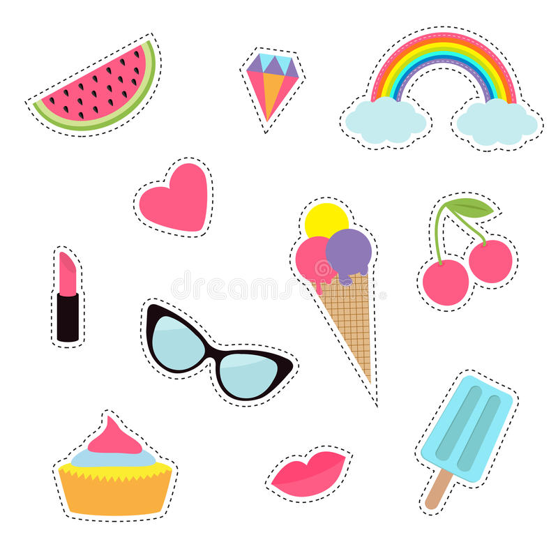 Quirky cartoon sticker patch badge set. Fashion pin collection. Lipstick, heart, rainbow, cloud, cupcake, diamond, ice cream stock illustration