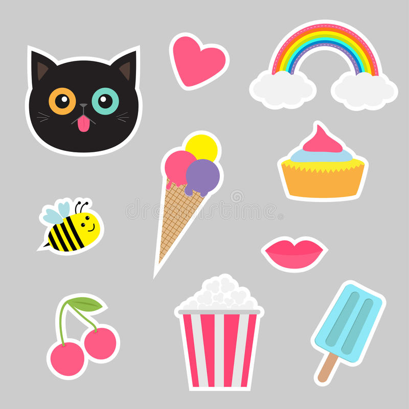 Quirky cartoon sticker patch set. Summer time badges. Fashion pin collection. Quirky cartoon sticker patch set. Summer time badges. Fashion pin collection Cat royalty free illustration