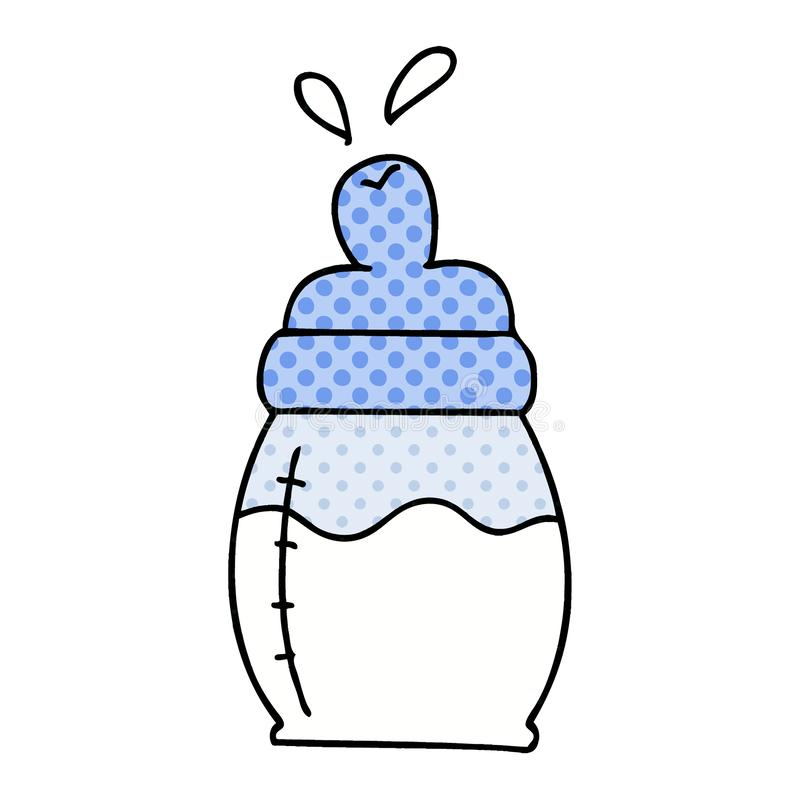 Quirky comic book style cartoon baby milk bottle. A creative illustrated quirky comic book style cartoon baby milk bottle stock illustration