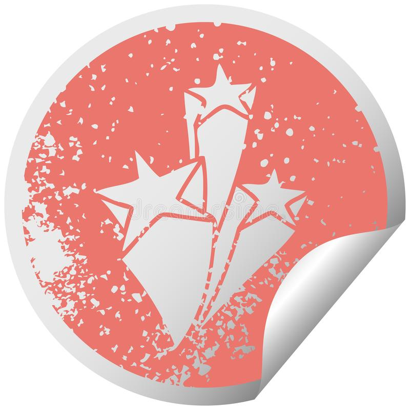 Quirky distressed circular peeling sticker symbol stars. A creative illustrated quirky distressed circular peeling sticker symbol stars royalty free illustration