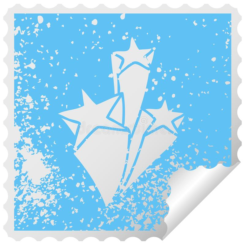 Quirky distressed square peeling sticker symbol stars. A creative illustrated quirky distressed square peeling sticker symbol stars stock illustration