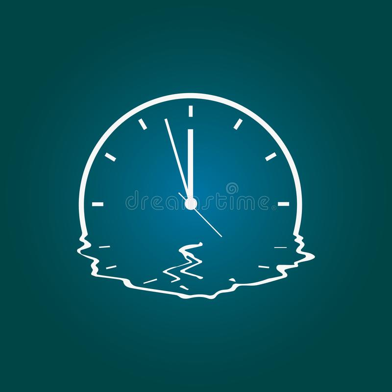 Quirky drawing of a melting clock.Vector illustration royalty free illustration