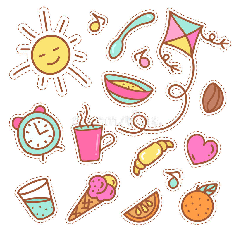 Quirky fashion patches set with food items. Illustration of sun, oranges and cup of coffee. Vector stickers or badges isolated on white royalty free illustration