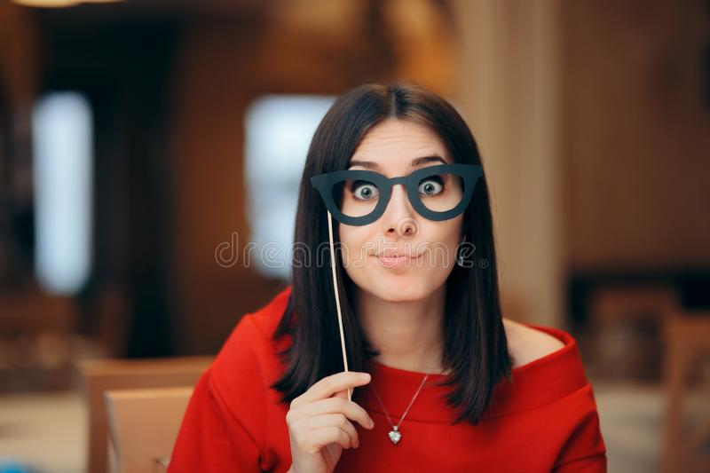 Funny Woman Wearing Party Mask Accessory stock image