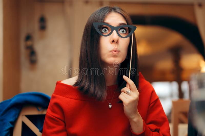 Funny Woman Wearing Party Mask Accessory stock images
