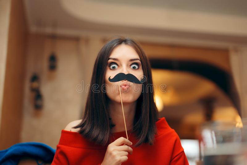 Funny Woman Wearing Party Mask Accessory royalty free stock image