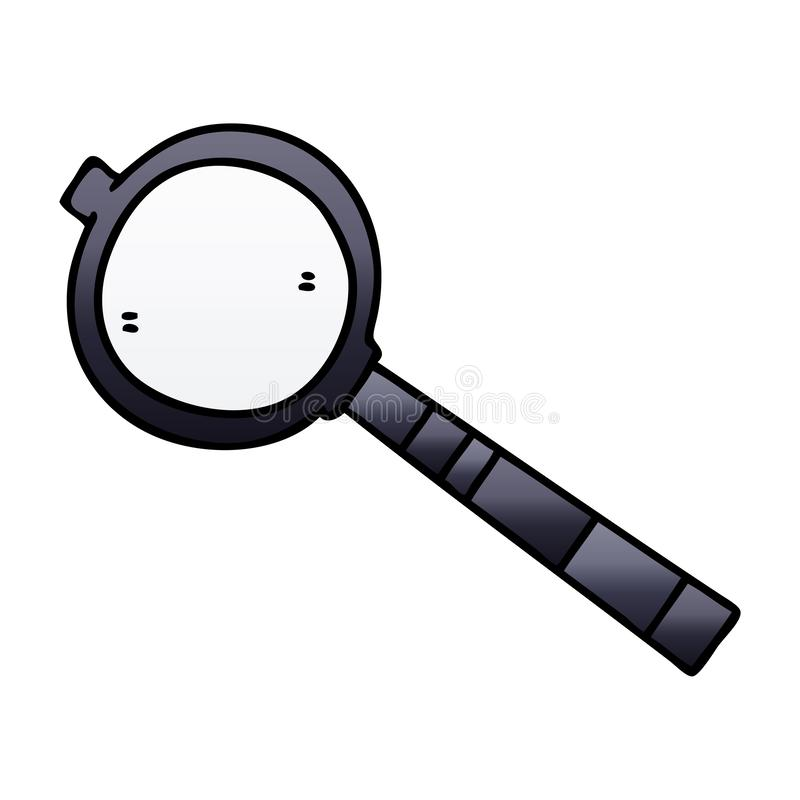 Quirky gradient shaded cartoon magnifying glass. A creative illustrated quirky gradient shaded cartoon magnifying glass royalty free illustration