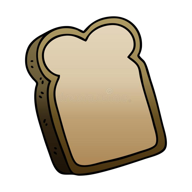 Quirky gradient shaded cartoon slice of bread. A creative illustrated quirky gradient shaded cartoon slice of bread stock illustration