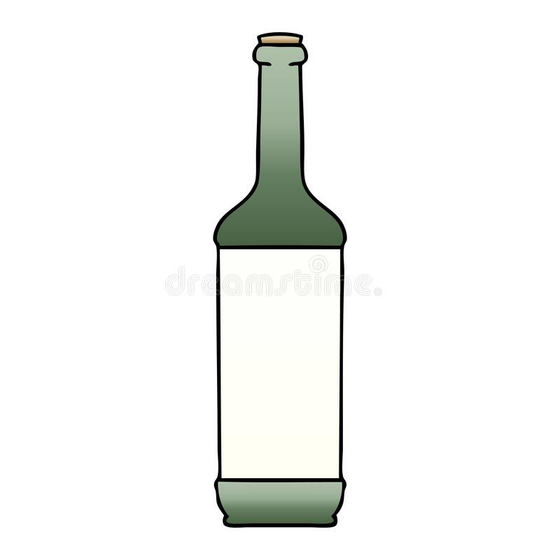 Quirky gradient shaded cartoon wine bottle. A creative illustrated quirky gradient shaded cartoon wine bottle royalty free illustration