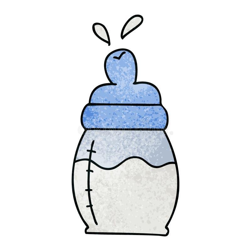 Quirky hand drawn cartoon baby milk bottle. A creative illustrated quirky hand drawn cartoon baby milk bottle stock illustration