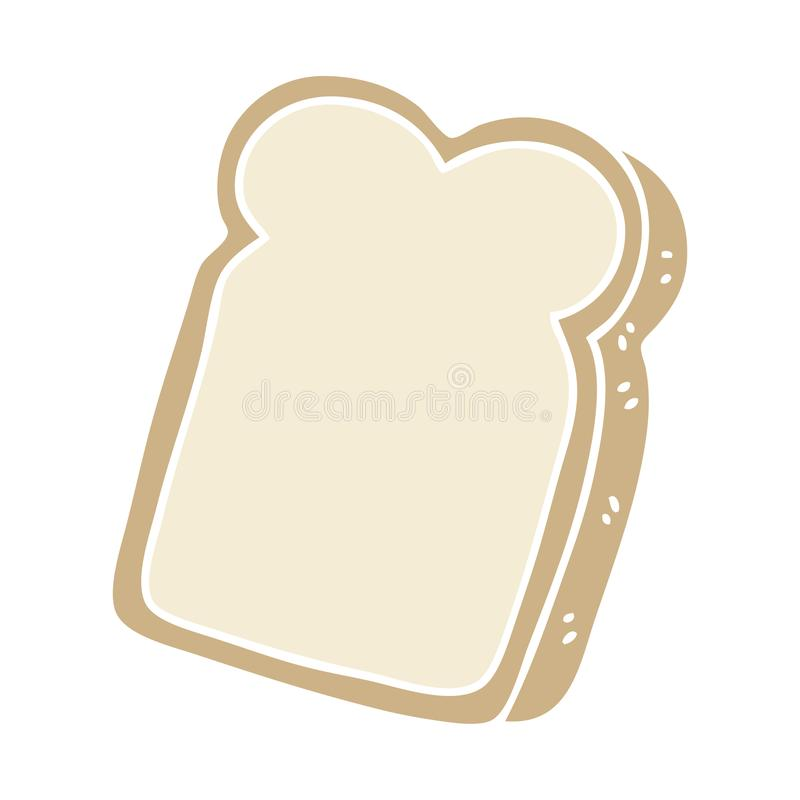 Quirky hand drawn cartoon slice of bread. A creative illustrated quirky hand drawn cartoon slice of bread stock illustration