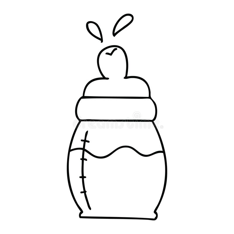 Quirky line drawing cartoon baby milk bottle. A creative illustrated quirky line drawing cartoon baby milk bottle vector illustration
