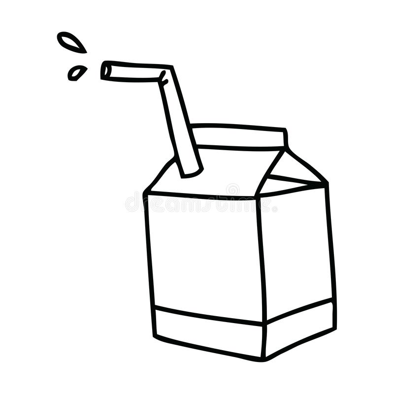 Quirky line drawing cartoon quirky line drawing carton of milk. A creative illustrated quirky line drawing cartoon quirky line drawing carton of milk stock illustration
