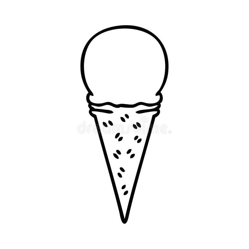 Quirky line drawing cartoon vanilla ice cream cone. A creative illustrated quirky line drawing cartoon vanilla ice cream cone stock illustration