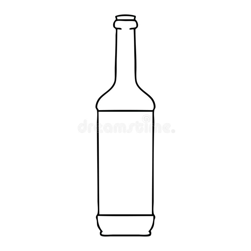Quirky line drawing cartoon wine bottle. A creative illustrated quirky line drawing cartoon wine bottle vector illustration
