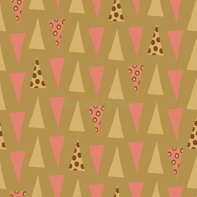 Quirky pink and green triangle medley. Quirky pink and green triangles with circle overlay in geometric seamless vector pattern on soft green background. Great royalty free illustration